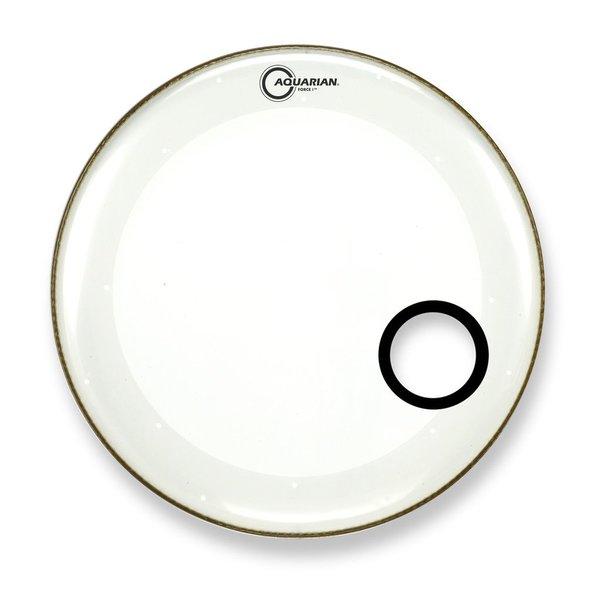 "Aquarian Aquarian Force I Series 20"" Bass Drum Resonant Head and Porthole Drumhead - White"