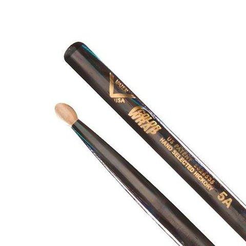 Vater Color Wrap 5A Black Optic Wood Tip Drumsticks