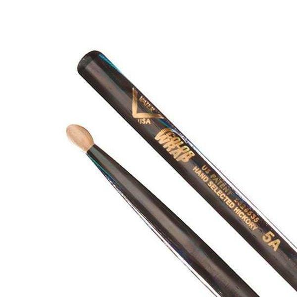 Vater Vater Color Wrap 5A Black Optic Wood Tip Drumsticks