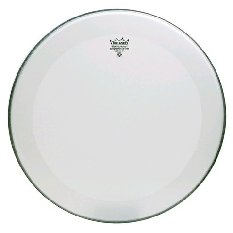 """Remo Smooth White Powerstroke 3 - 26"""" Diameter Bass Drumhead - 2-1/2"""" White Falam Patch"""