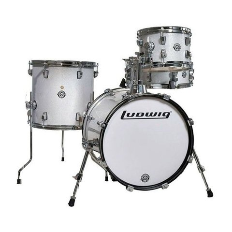 Ludwig Breakbeats By Questlove 4 Piece Shell Pack In White Sparkle Finish