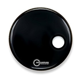 "Aquarian Aquarian Ported Front Small Hole 18"" Drumhead with Ring - Black"
