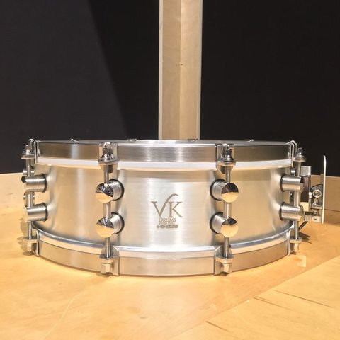 VK Drums Sterling Silver 4.5x14 Snare Drum w/ Stainless Straight Hoops