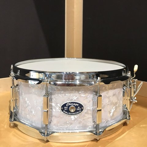 Used Chicago Drum and Restoration 5.5x14 White Marine Pearl Snare Drum