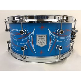 Trick Trick Custom AL13,  6.5x14 8 Lug Snare Drum, Jim Brando Pinstriped/Cast Blue