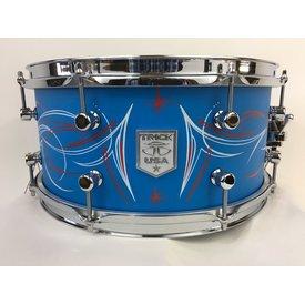 Trick Trick Custom AL13,  6.5x14 8 Lug Snare Drum, Jim Brando Pinstriped/Cast Blue