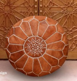 """MBenDesign MBenDesign- Moroccan leather Pouf - Light Tan - 20"""" D x 12"""" H"""