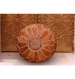 "MBenDesign MBenDesign- Moroccan leather Pouf - Light Tan - 20"" D x 12"" H"