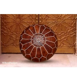 "MBenDesign MBenDesign- Moroccan leather Pouf - Dark Tan - 20"" D x 12"" H"