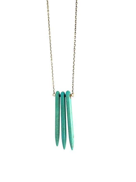 Mana Made Jewelry Mana Made Turquoise Howlite 3 Stone Spike Necklace