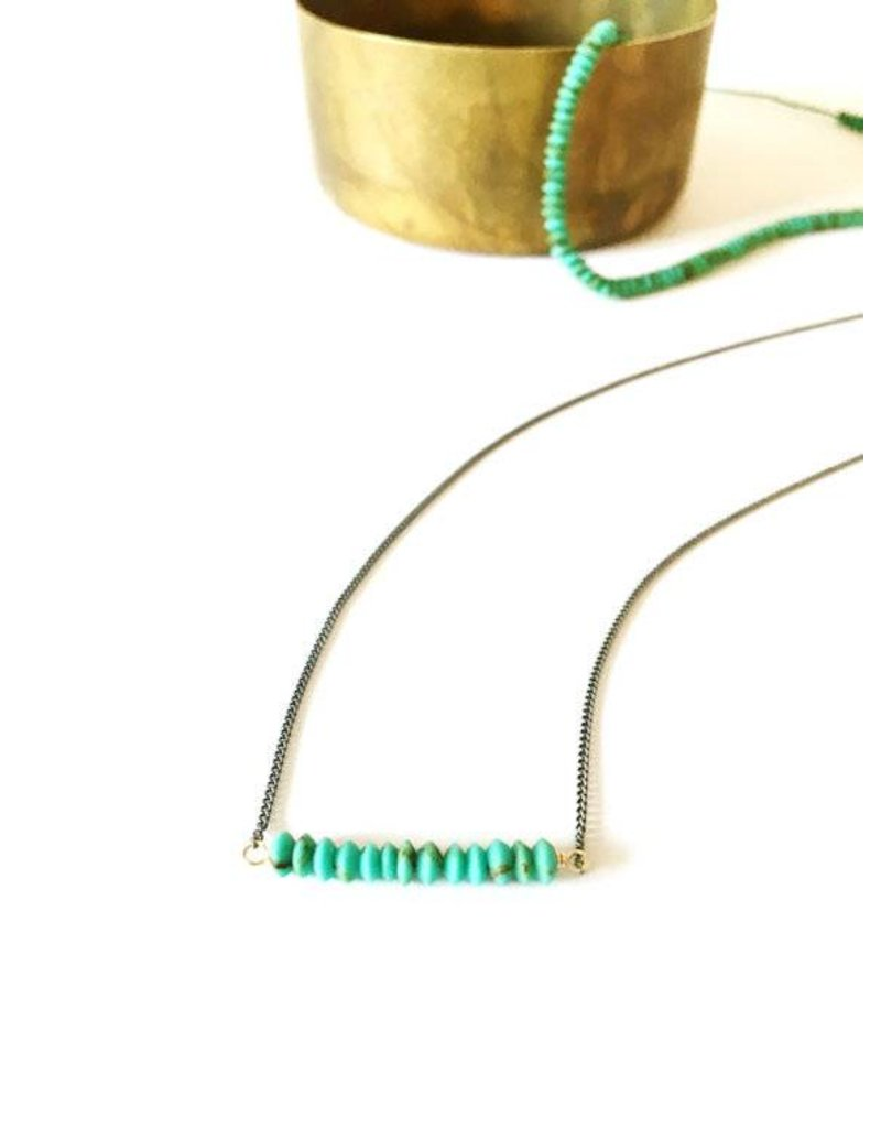 Mana Made Jewelry Mana Made Small Turquoise Stone Bar Necklace