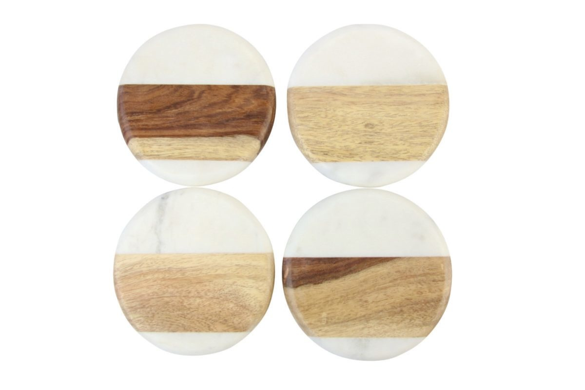 Be Home Be Home - Marble and Wood Set of 4 - Round Coasters