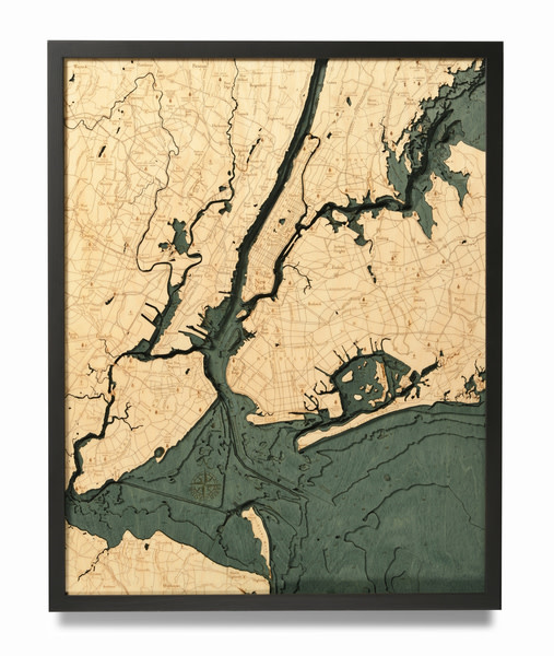 "Wood Chart Wood Chart 31""x 24"" - 5 Boroughs of New York"