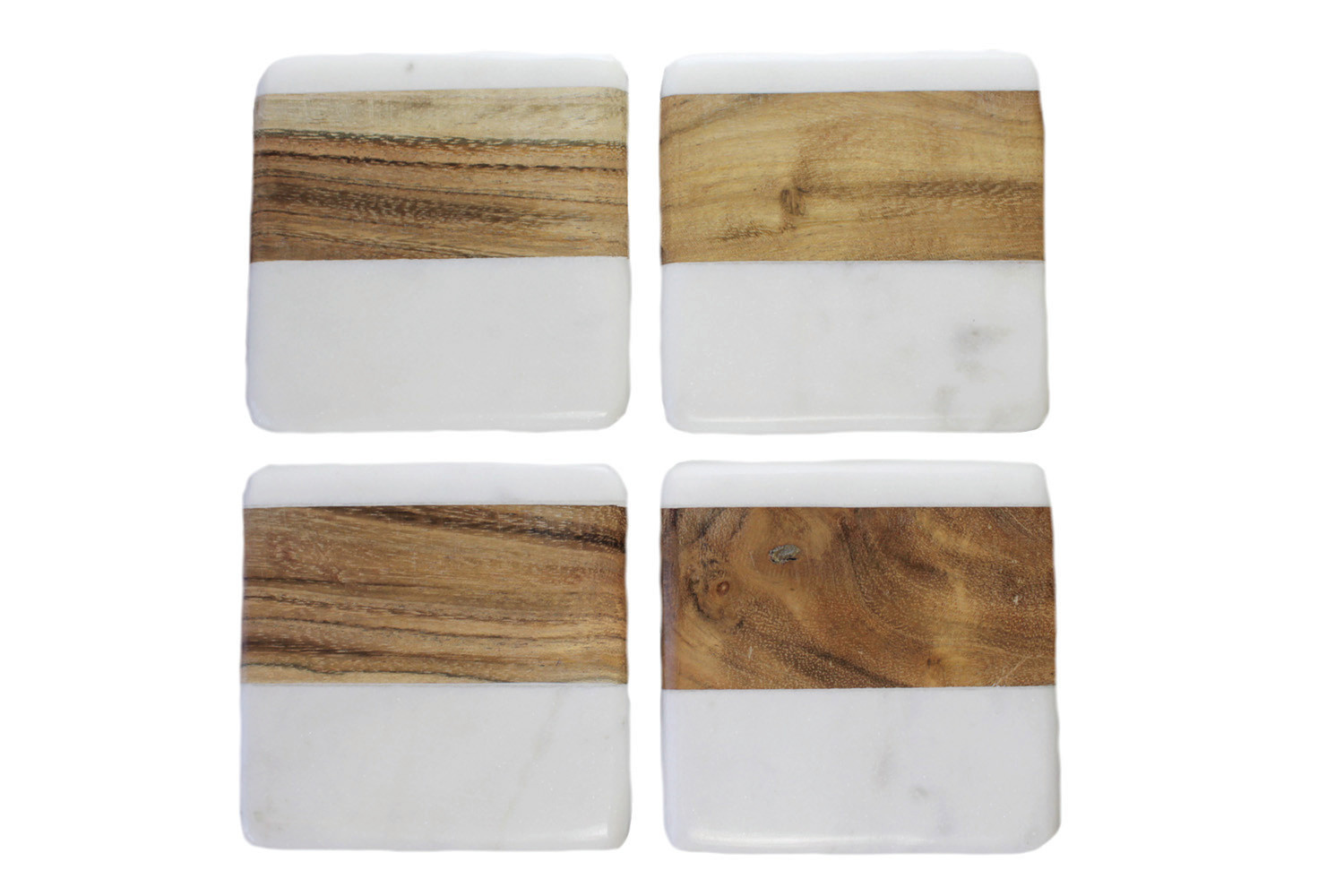 Be Home Be Home - Marble and Wood Set of 4 - Square Coasters