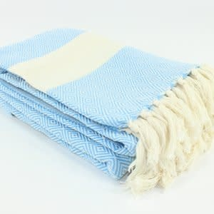 "Turkish Linen Towels Turkish Blanket 79""x95"" Diamond"