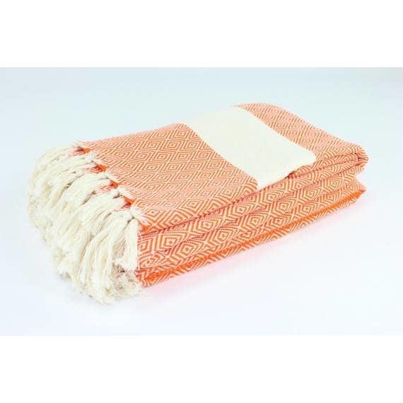"Turkish Linen Towels Turkish Blanket 79""x95"" Diamond"