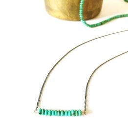 Mana Made Jewelry Mana Made Small Turquoise Stone Bar Necklace