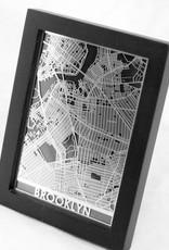 "Cut Maps Cut Maps Brooklyn Stainless Steel Map 5""x7"""