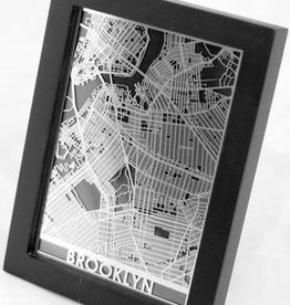 "Cut Maps Cut Maps Brooklyn Stainless Steel Map 5""x7"""