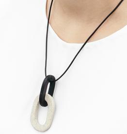 Sylvan Park Sylvan Park Leather + Ceramic Link Necklace-Black/Stone