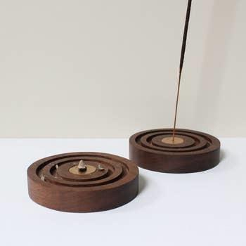 Mingled Goods Mingled Goods  Walnut Concentric Incense Holder