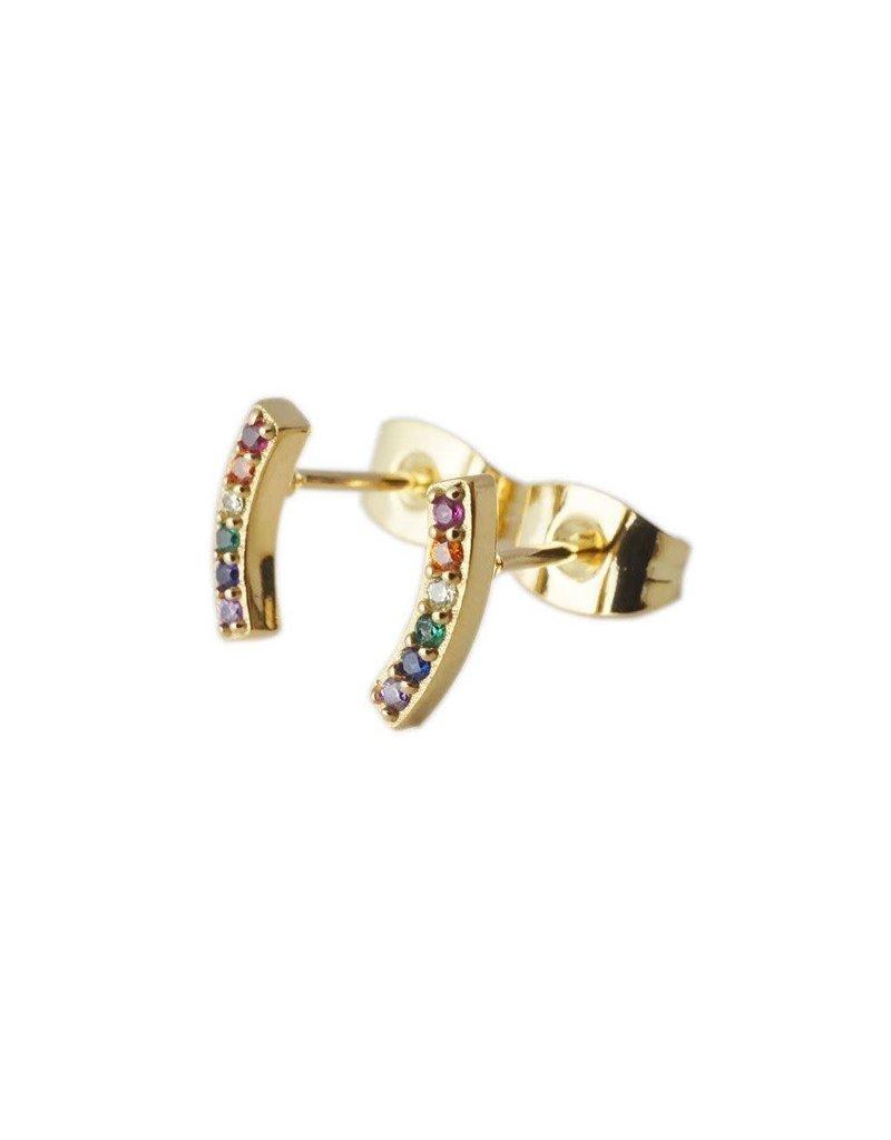 Honeycat Honeycat Rainbow Crystal Arc Earrings