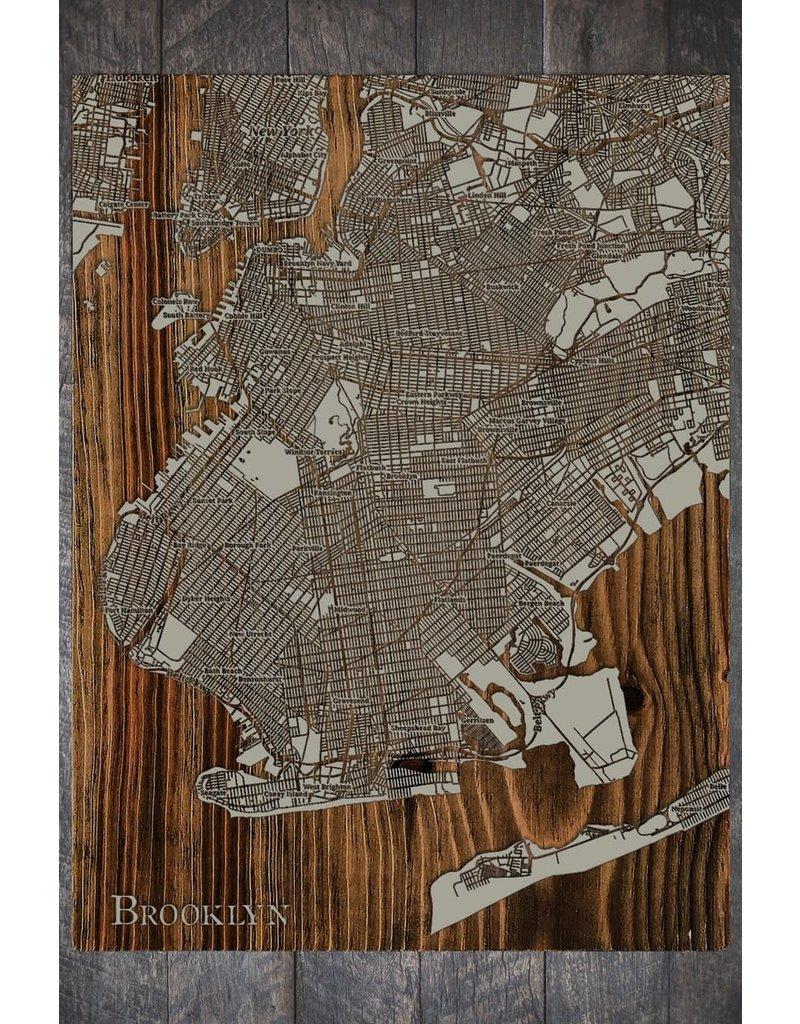 Fire & Pine Wood Map Brooklyn