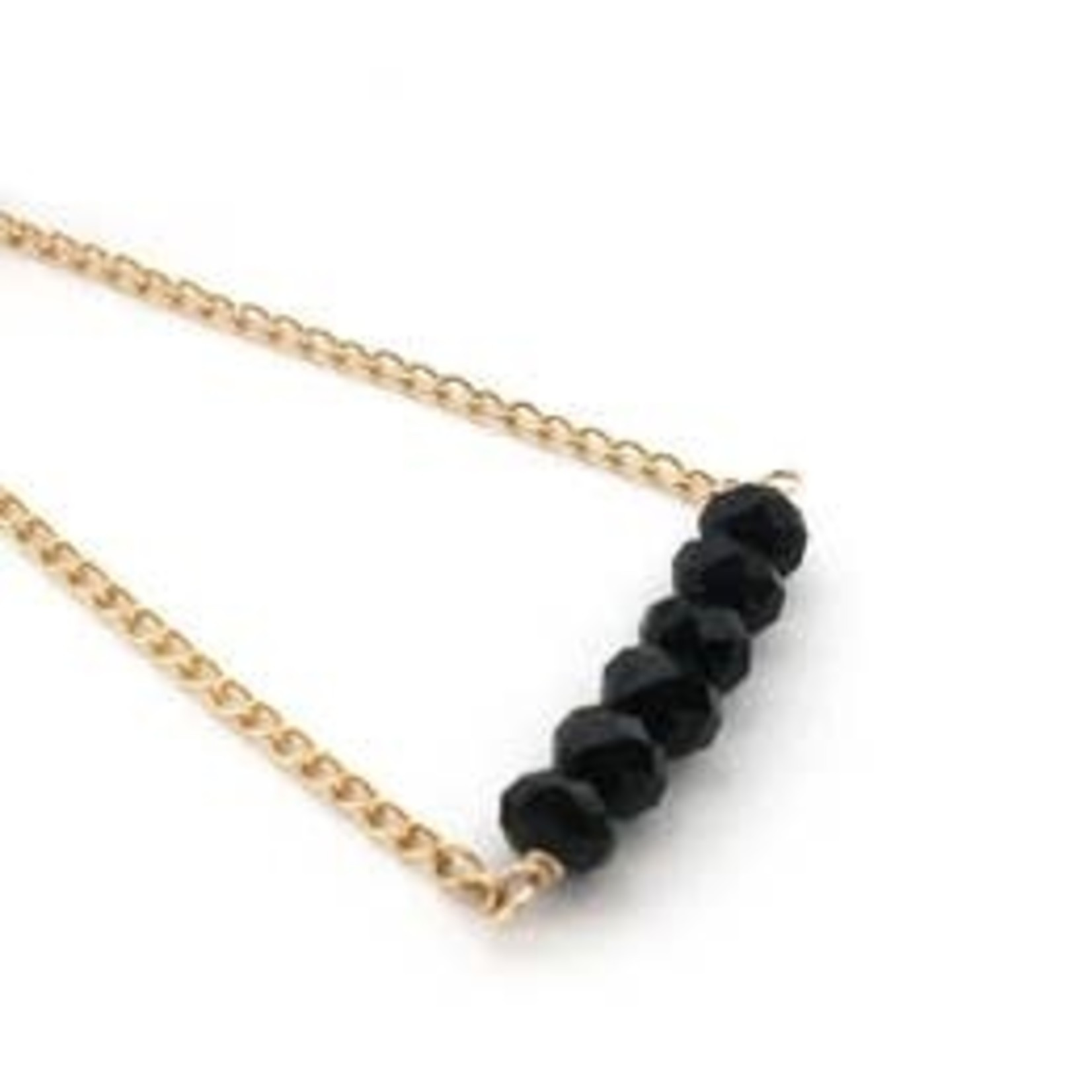 Mana Made Jewelry Mana Made Black Onyx Bar Necklace Gold Fill Chain