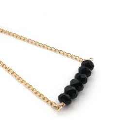 Mana Made Jewelry Mana Made Black Onyx Bar Necklace Gold Fill Chain