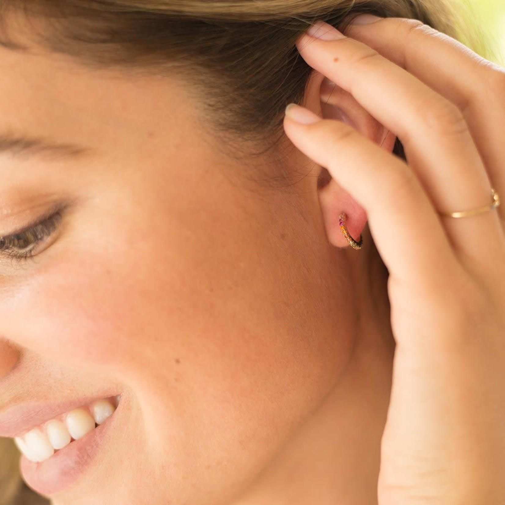 Honeycat Jewelry Honeycat RAINBOW CRYSTAL HUGGIE HOOPS Earrings