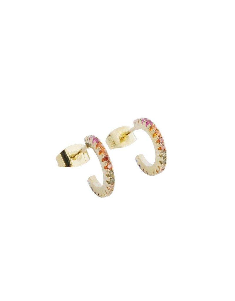 Honeycat Honeycat RAINBOW CRYSTAL HUGGIE HOOPS Earrings
