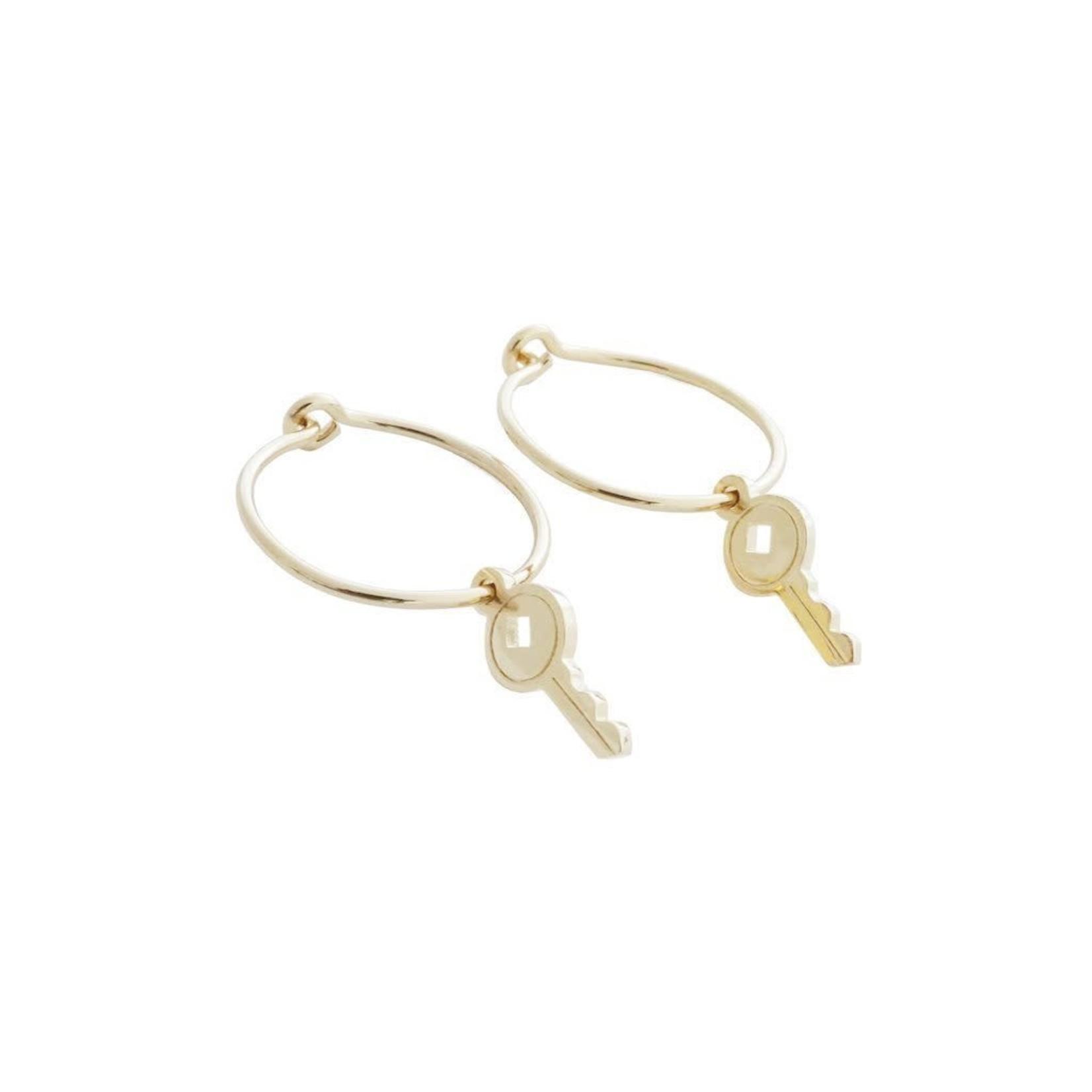 Honeycat Jewelry Honeycat Magic Charm Key Hoops Earrings