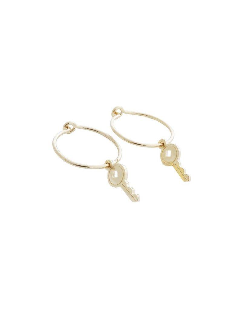 Honeycat Honeycat Magic Charm Key Hoops Earrings