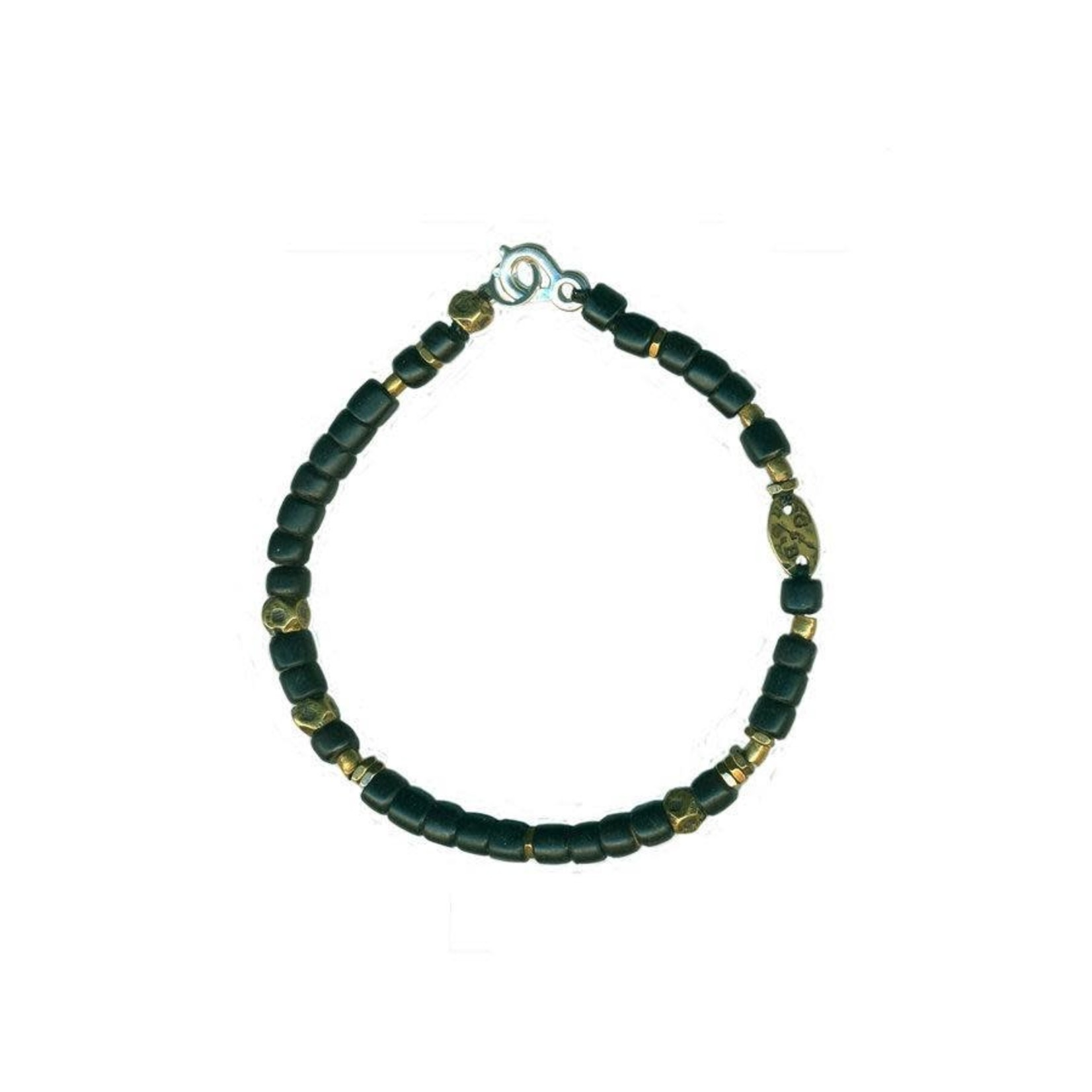 Giles & Brother Black And Brass African Bead Bracelet