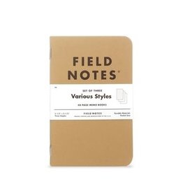 Field Notes Field Stone Original Kraft 3-Packs Ruled