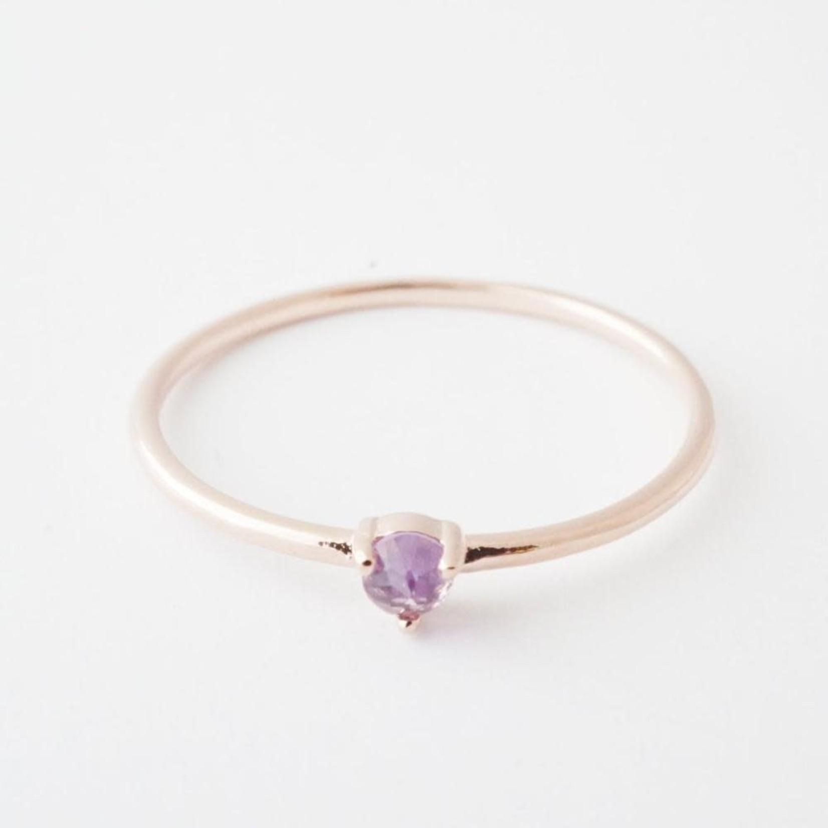 Honeycat Jewelry Honeycat Solitaire Ring AMETHYST Rose Gold