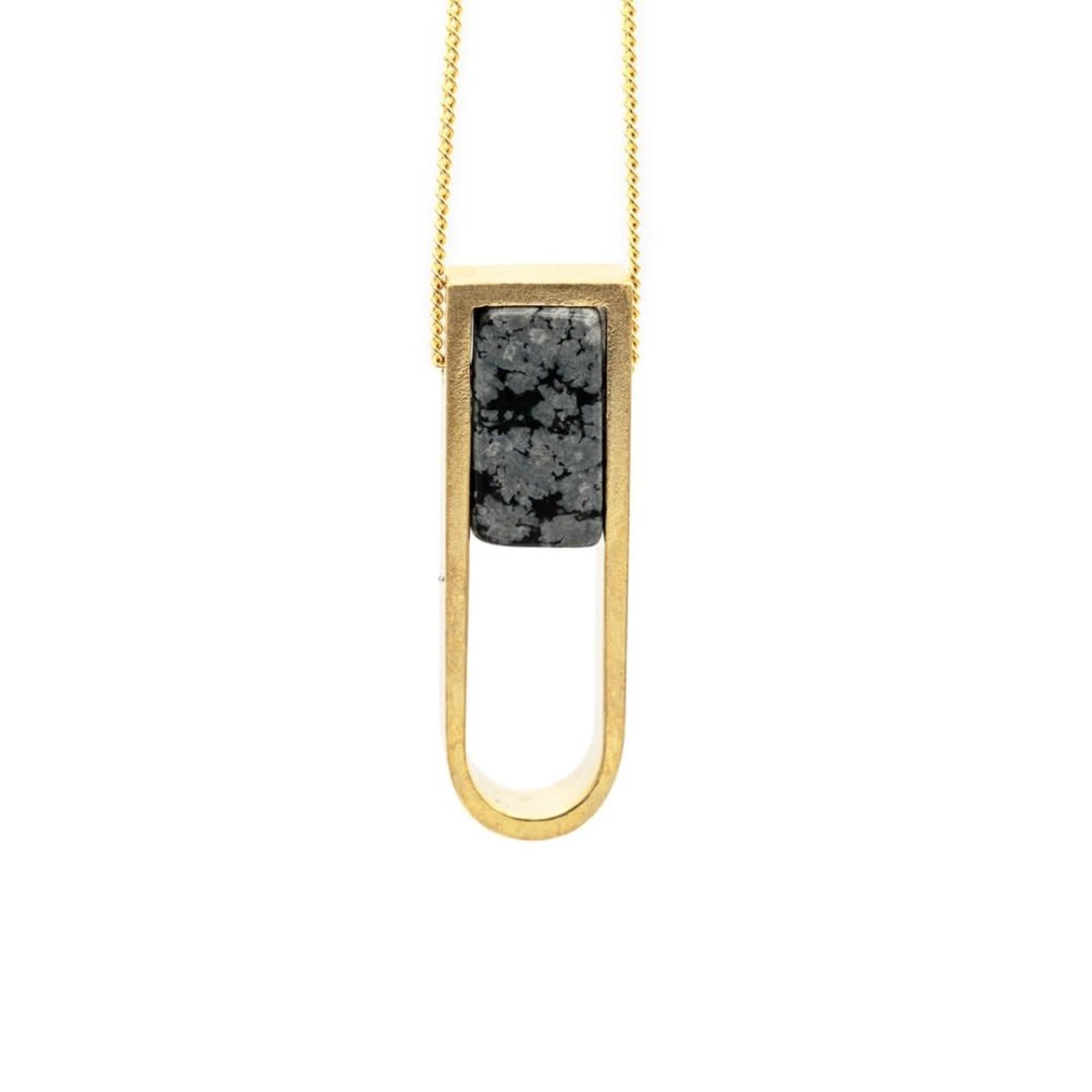 Mana Made Jewelry Mana Made Horseshoe Necklace Obsidian