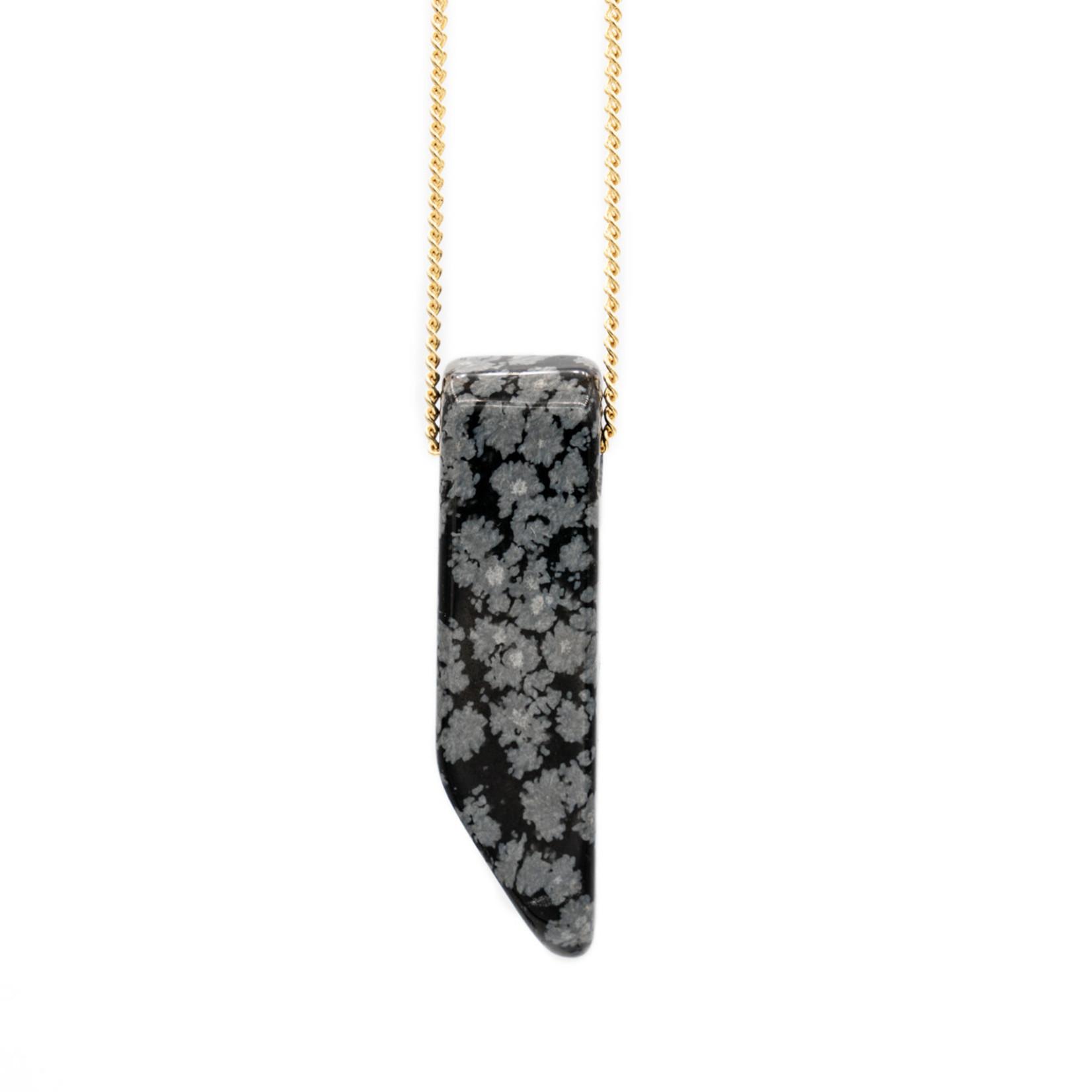 "Mana Made Jewelry Mana 28"" Stone Necklace Obsidian"