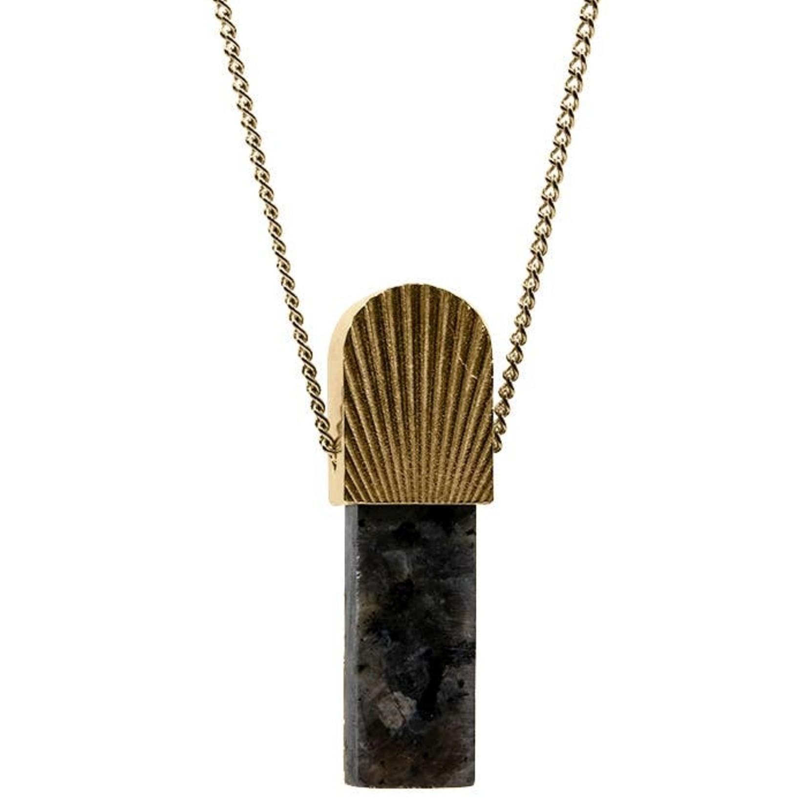 Mana Made Jewelry Mana Made Sunburst Larvikite Stone Necklace