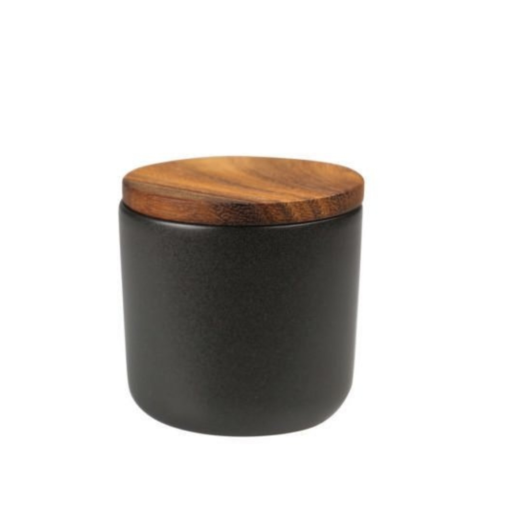 Be Home Be Home  Stoneware & Acacia Container Small Black