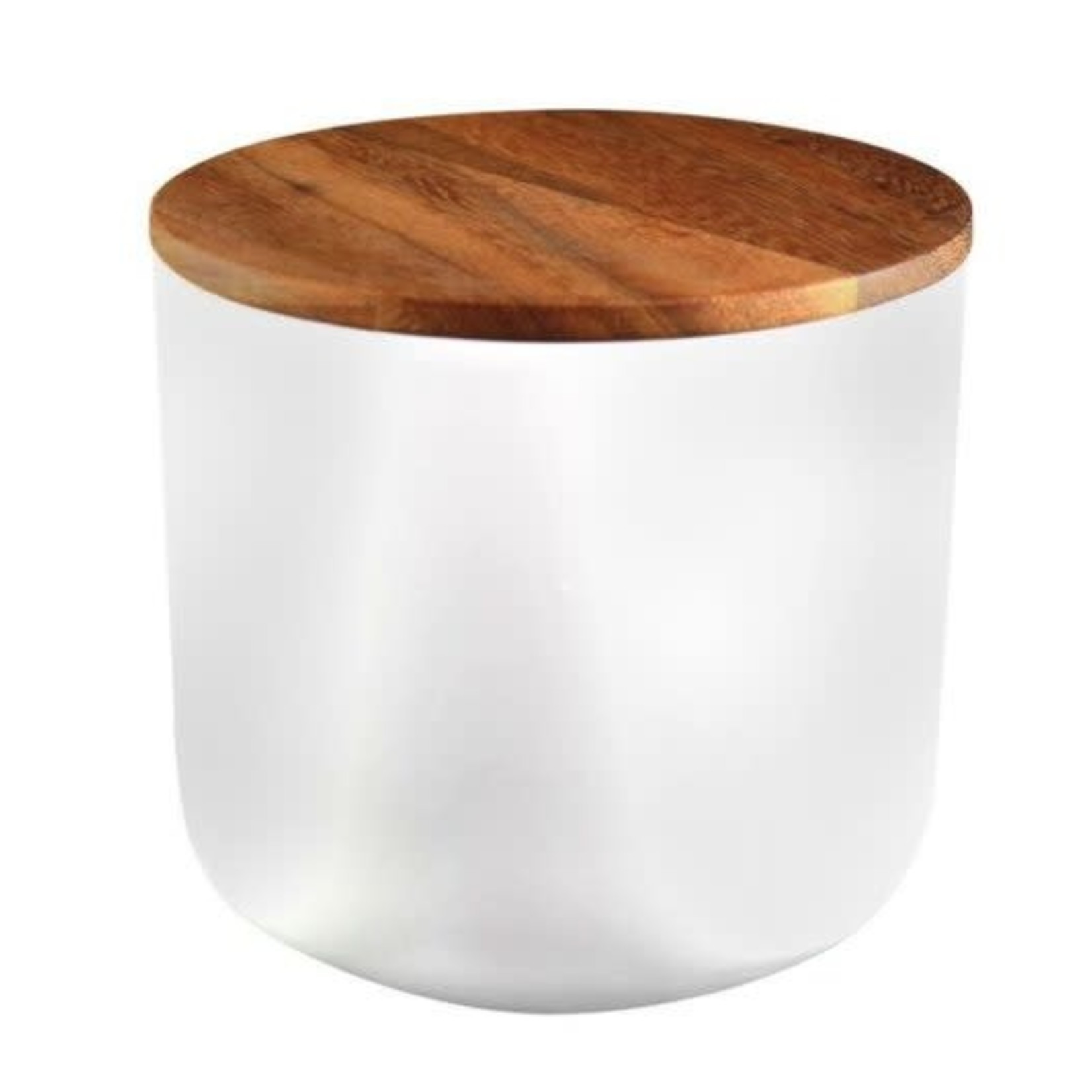 Be Home Be Home  Stoneware & Acacia Container Large White