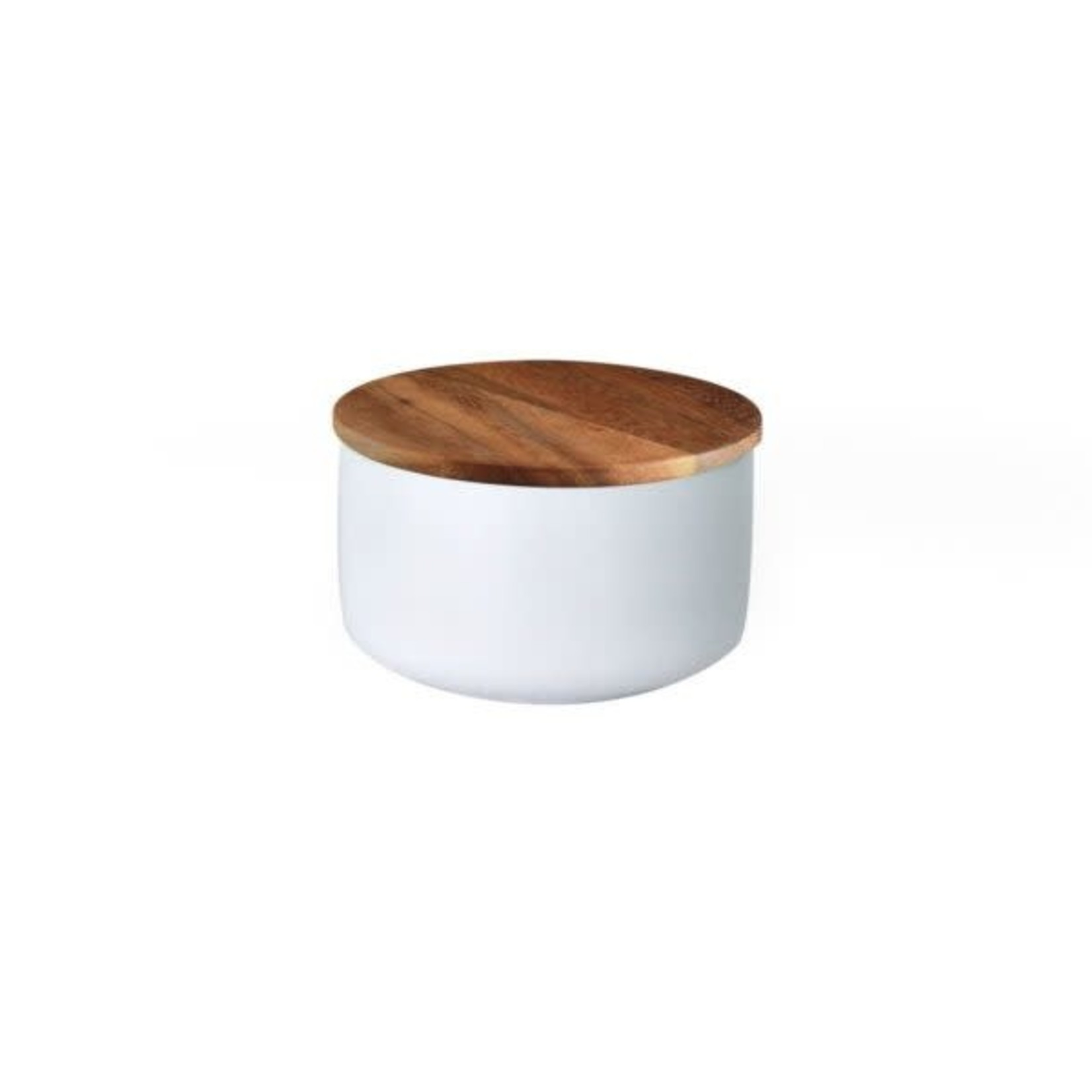 Be Home Be Home  Stoneware & Acacia Container X-Small White