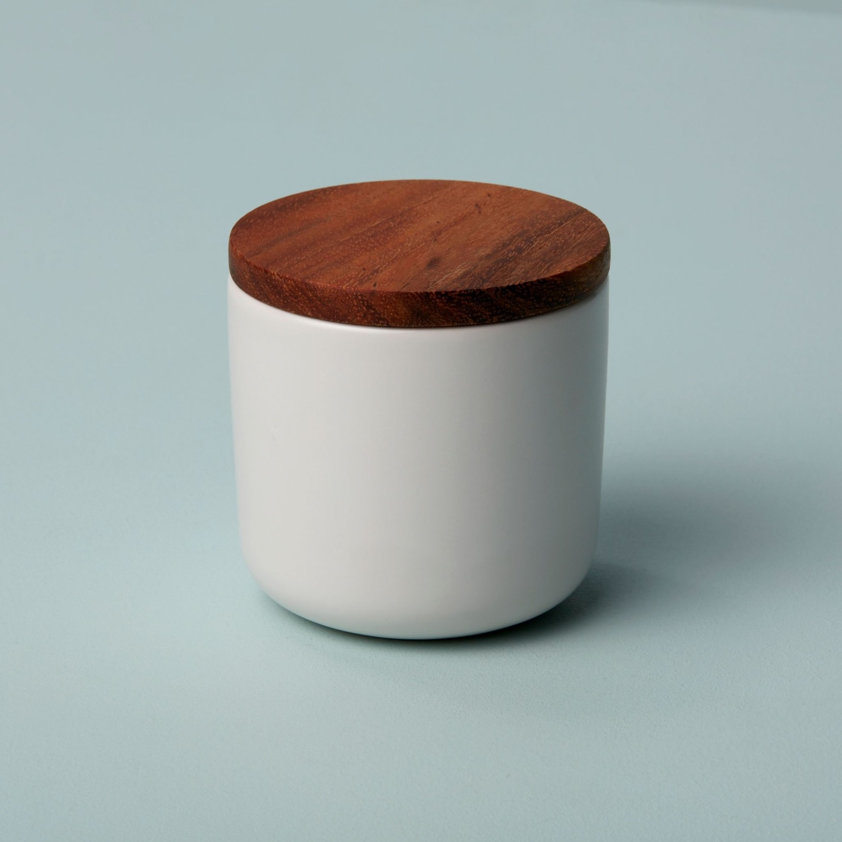 Be Home Be Home  Stoneware & Acacia Container Small White