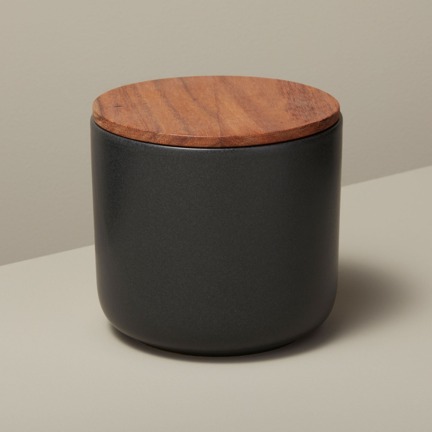 Be Home Be Home  Stoneware & Acacia Container Large Black