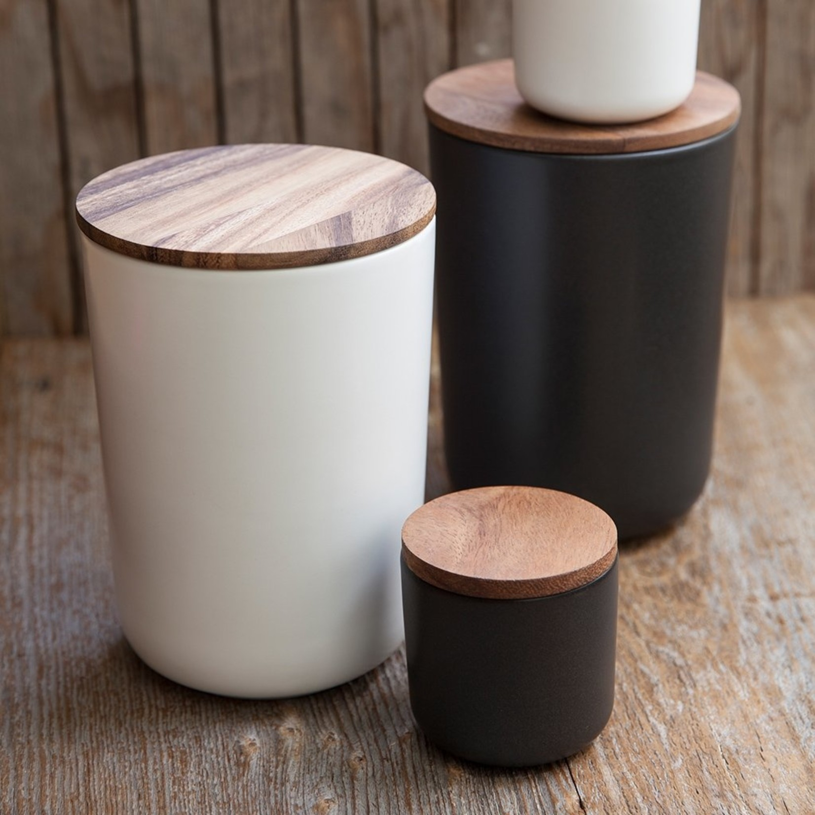Be Home Be Home  Stoneware & Acacia Container X-Small Black
