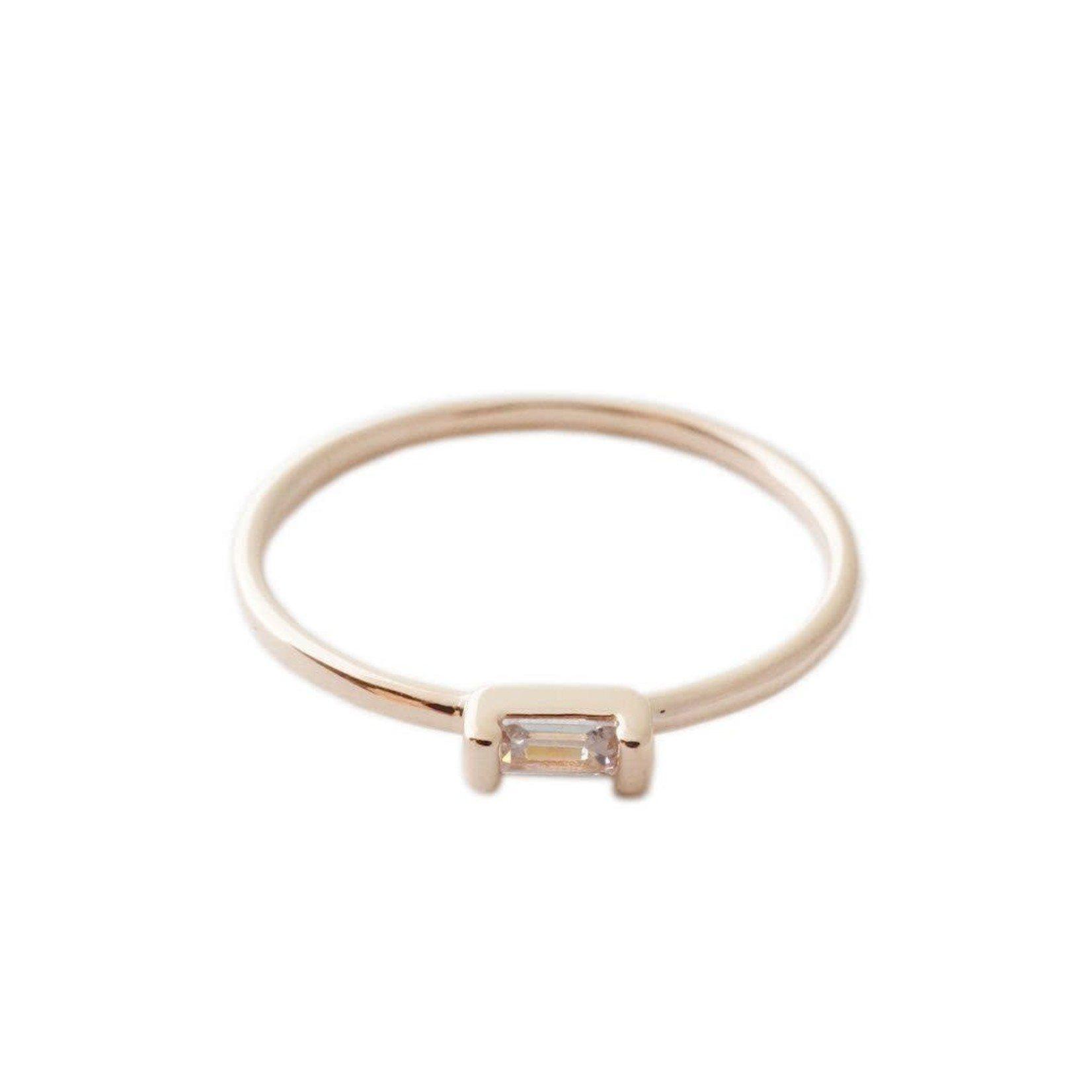 Honeycat Jewelry Honeycat Crystal Baguette Ring Rose Gold