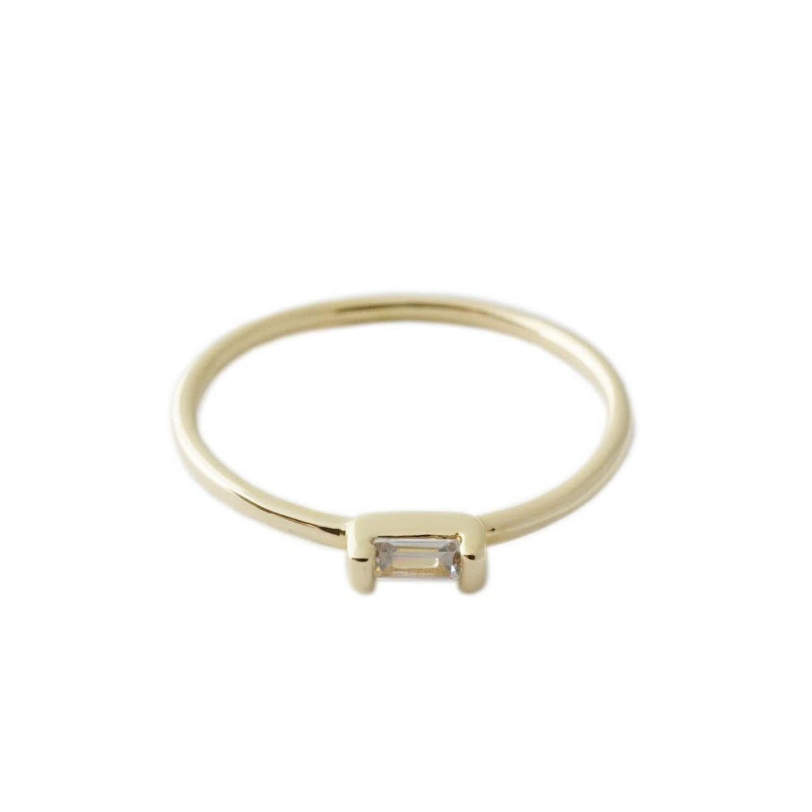 Honeycat Jewelry Honeycat Crystal Baguette Ring Gold