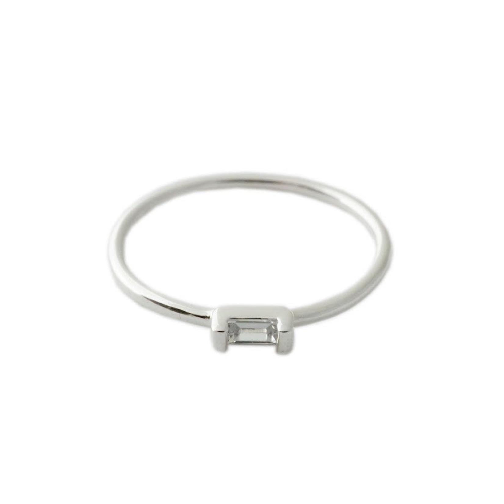 Honeycat Jewelry Honeycat Crystal Baguette Ring Silver