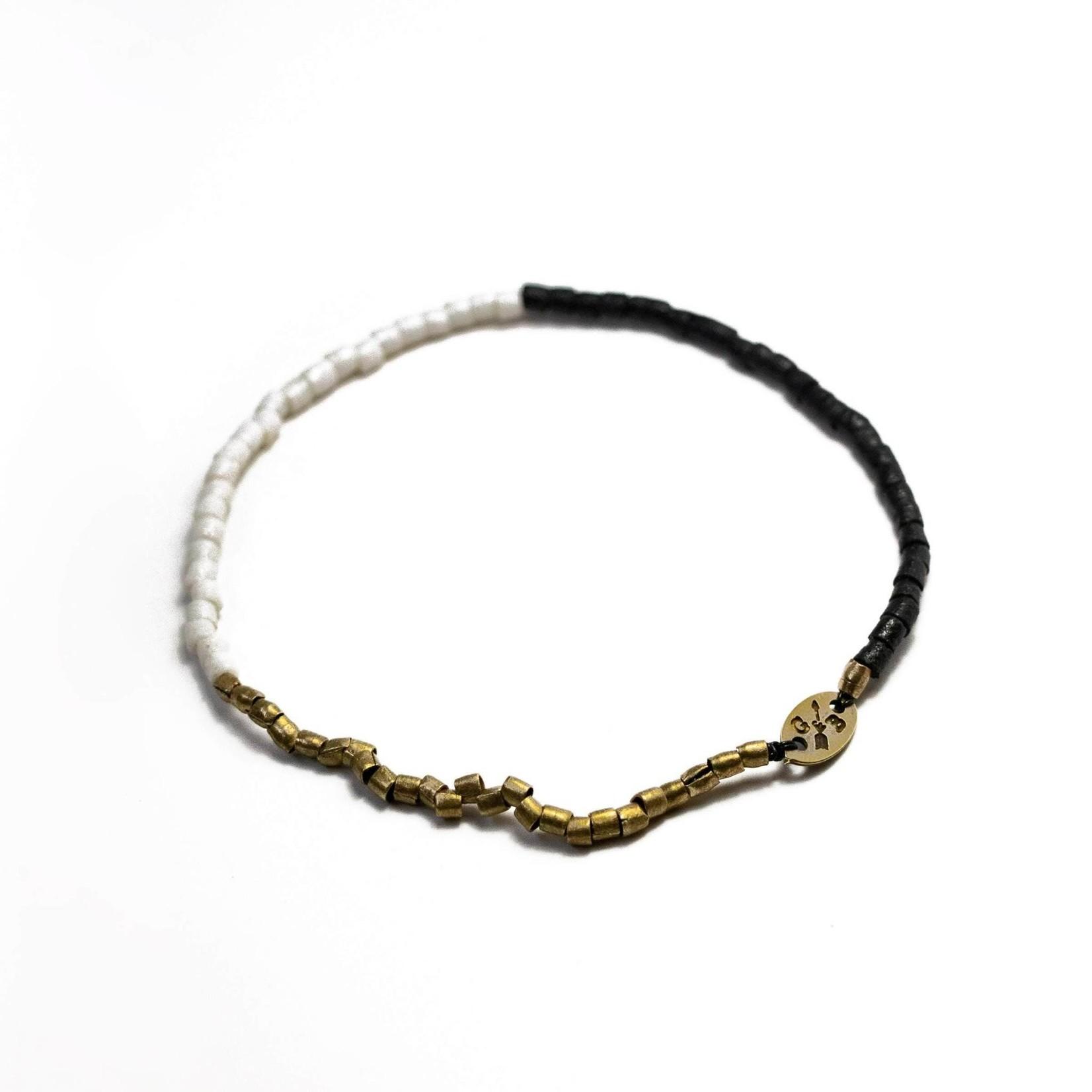 Giles & Brother Tiny Vintage Tri Color Beaded Stretch Bracelet Medium Black White Brass