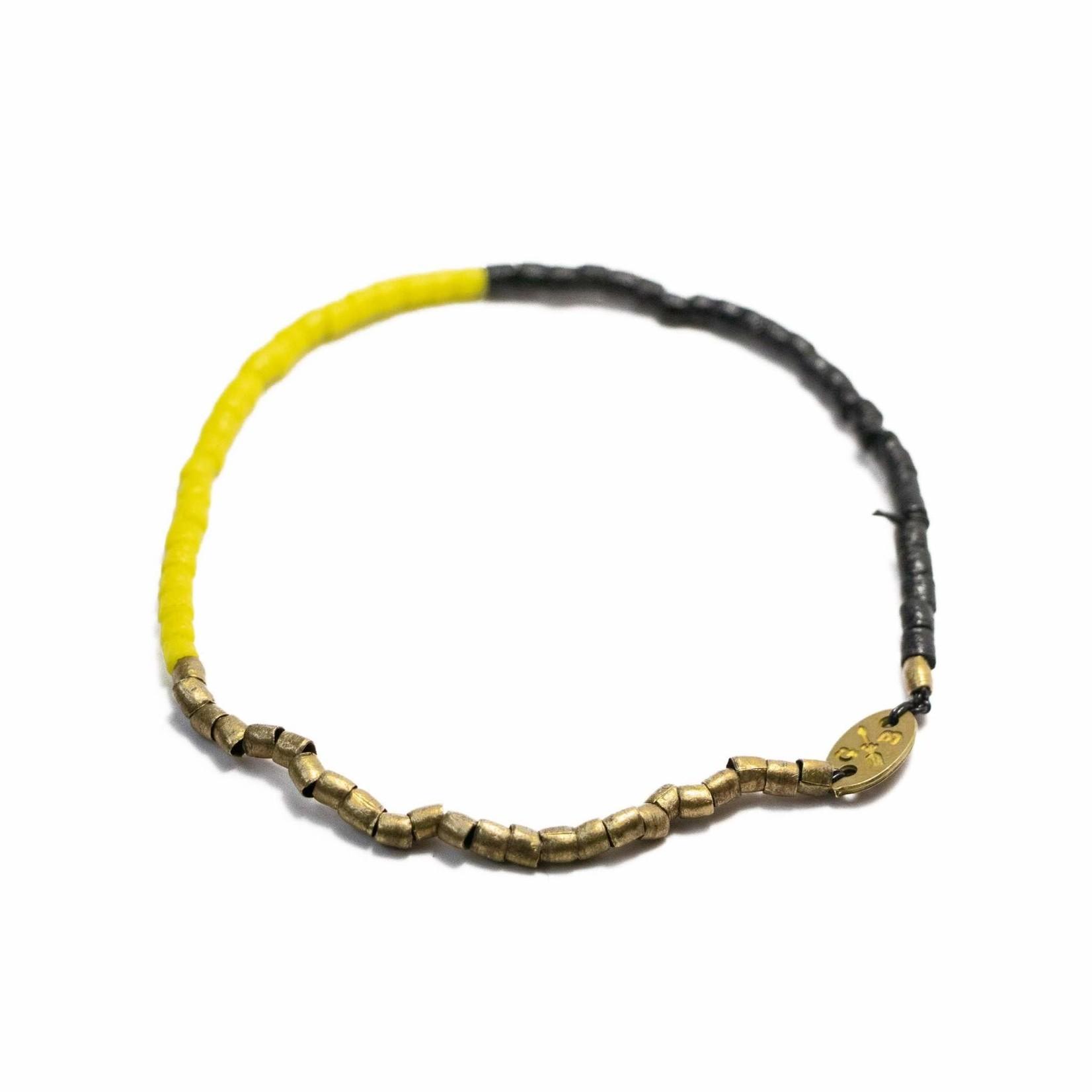 Giles & Brother Tiny Vintage Tri Color Beaded Stretch Bracelet Medium Yellow Black Brass